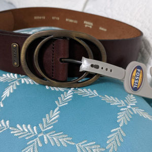 Fossil brown leather belt Vintage Oval Buckle